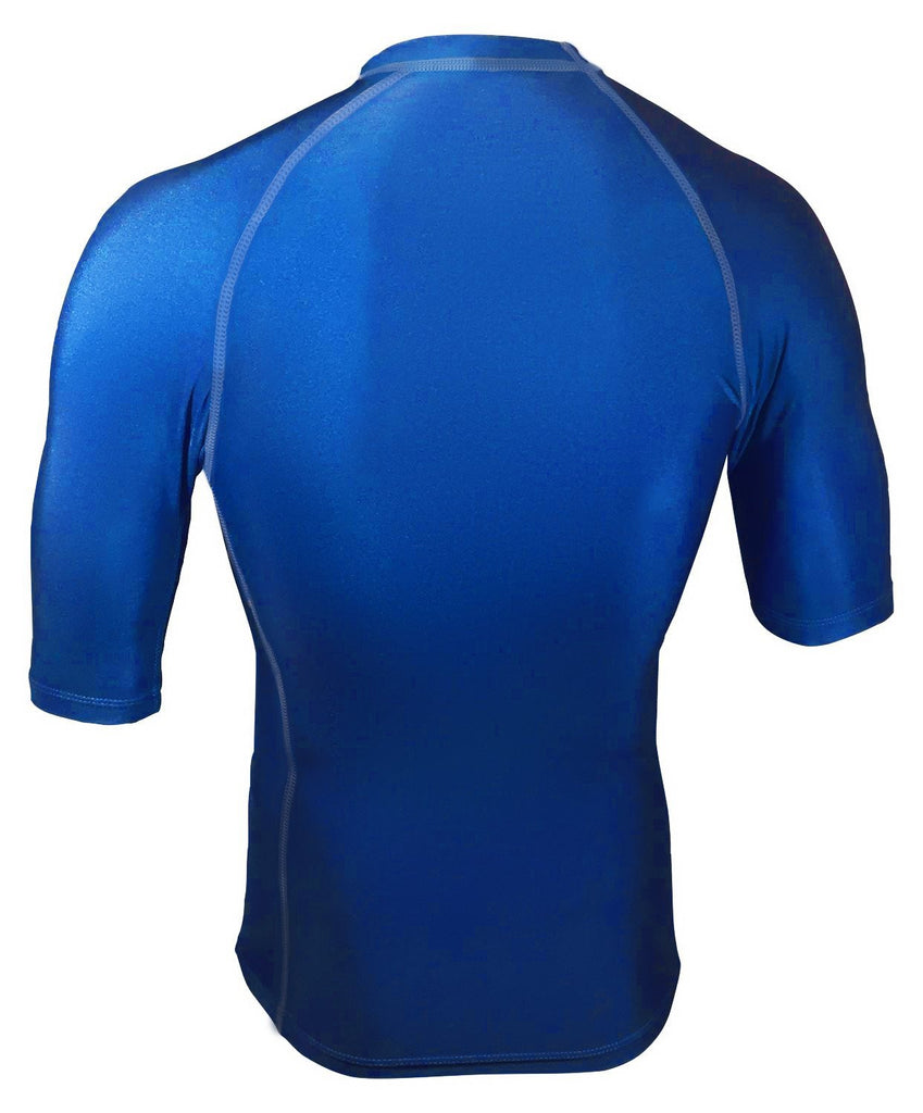 Royal Blue Short Sleeve Rash Guard Compression Shirt For Men