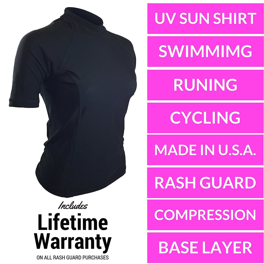 Black With Black Stitching Short Sleeve Rash Guard Compression Shirt For Women