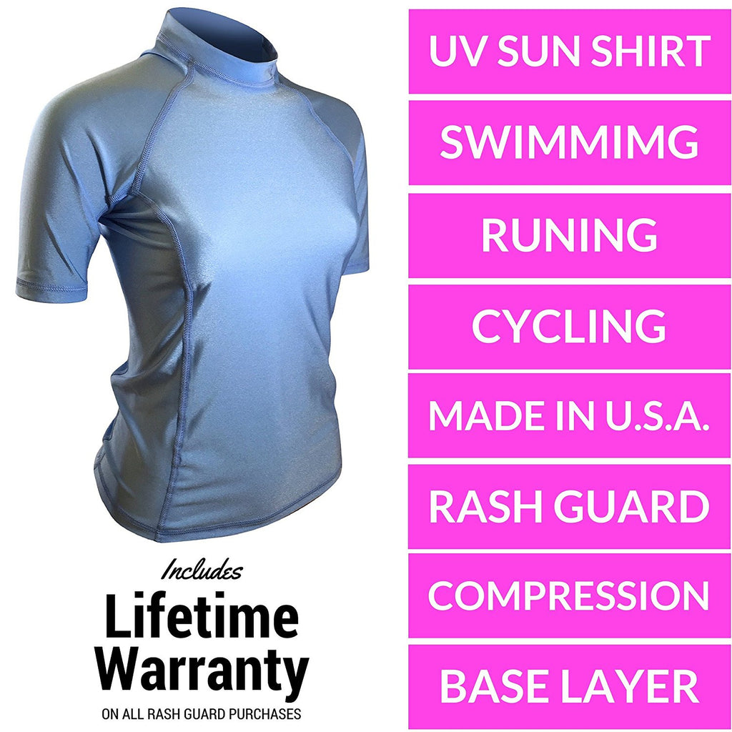 Carolina Blue Short Sleeve Rash Guard Compression Shirt For Women