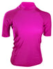 Fuchsia Short Sleeve Rash Guard Compression Shirt For Women