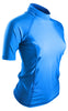 Turquoise Short Sleeve Rash Guard Compression Shirt For Women