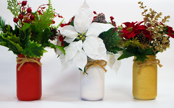 Holiday Mason Jar Centerpieces