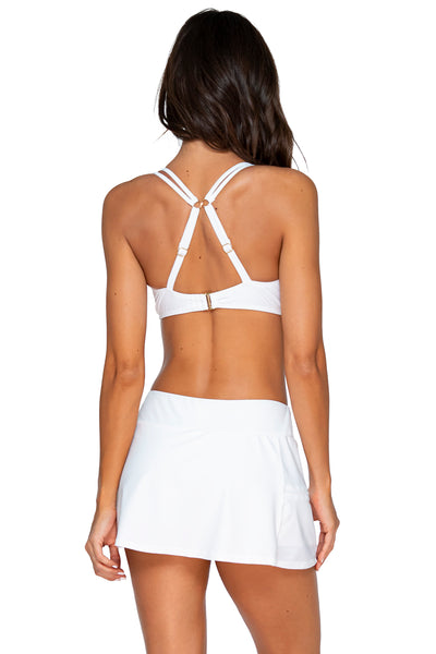 Sunsets White Sporty Swim Skirt