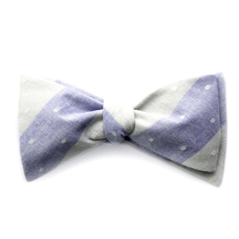 Anton - Large Stripes Bow Tie (Light Blue/Gray)