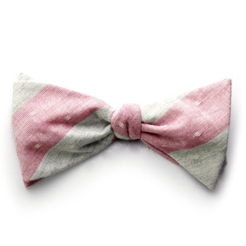 Anton - Large Stripes Bow Tie (Red/Gray)