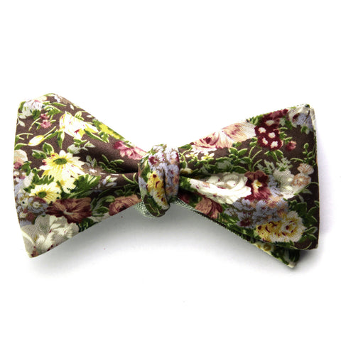 Bailey - Floral Gingham Bow Tie (Forest Green)