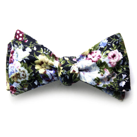 Bailey - Floral Gingham Bow Tie (Black)
