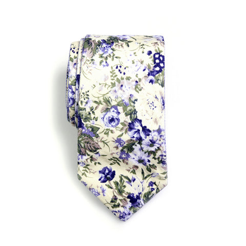 Braydon - Floral Gingham Neck Tie (Cream Blue)