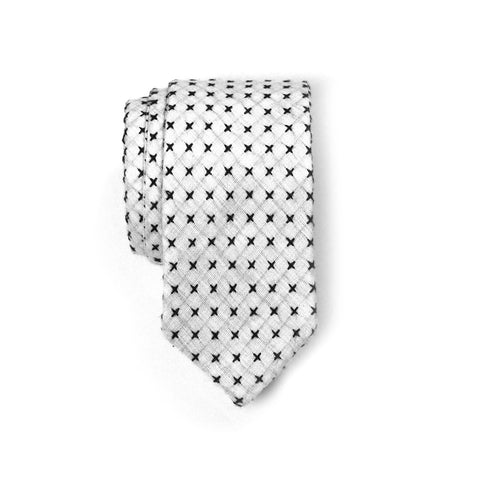 Crawford - Small Crosses Big Crosses Neck Tie (Off White/Black)