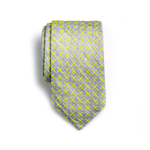 Crawford - Small Crosses Big Crosses Neck Tie (Taupe/Yellow)