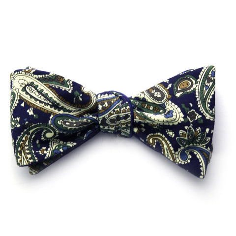 Dominick - Paisley Solid Bow Tie (Navy)