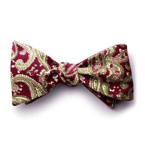 Dominick - Paisley Solid Bow Tie (Red)