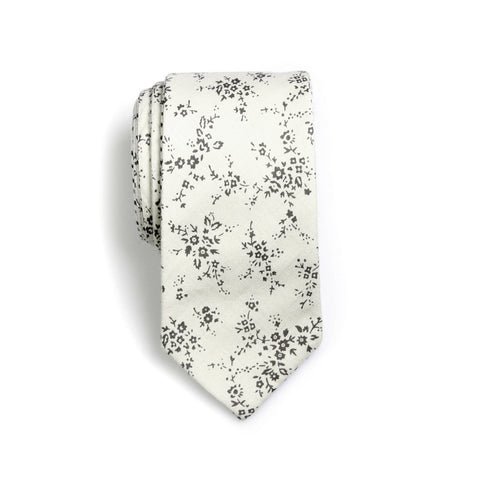 Edwin - Small Floral Polka Dots Neck Tie (Linen/Black)