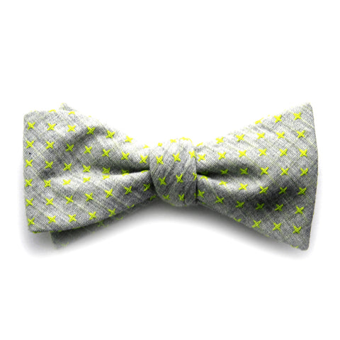 Irving - Small Crosses Big Crosses Bow Tie (Taupe/Yellow)