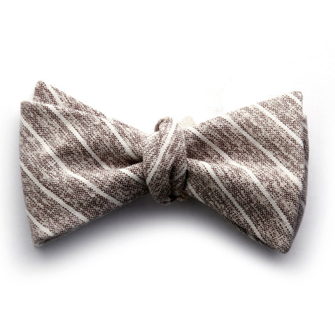 Langham - Small Stripes Bow Tie (Brown/Navy)