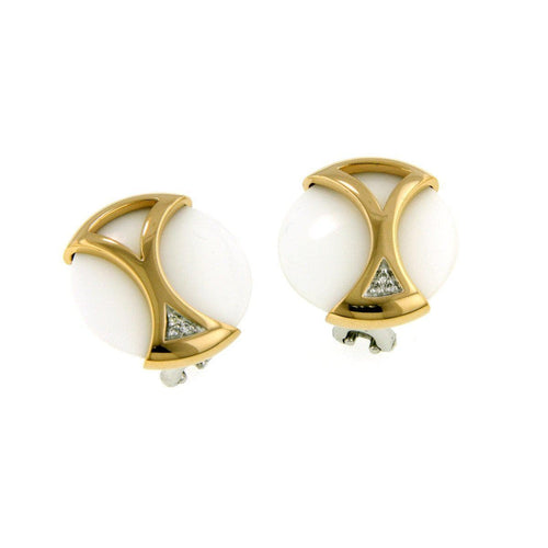 Rose Gold Plated Sterling Silver Agate Brilliant Diamond Earrings - 01/83710-R-Breuning-Renee Taylor Gallery