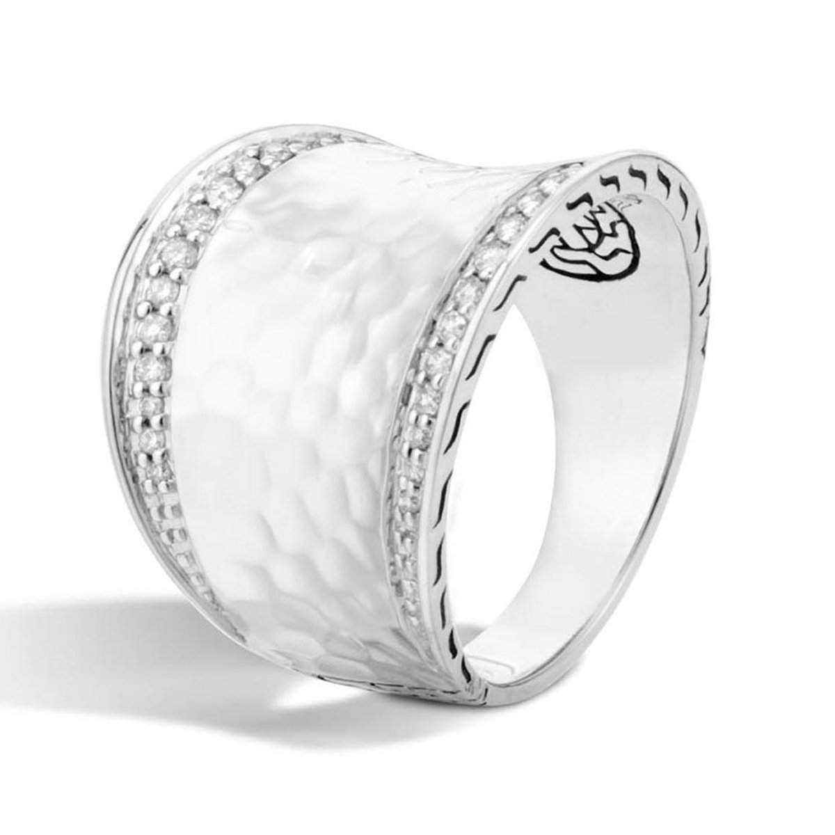 Classic Chain Diamond Pave Small Saddle Ring - RBP72712DI-John Hardy-Renee Taylor Gallery