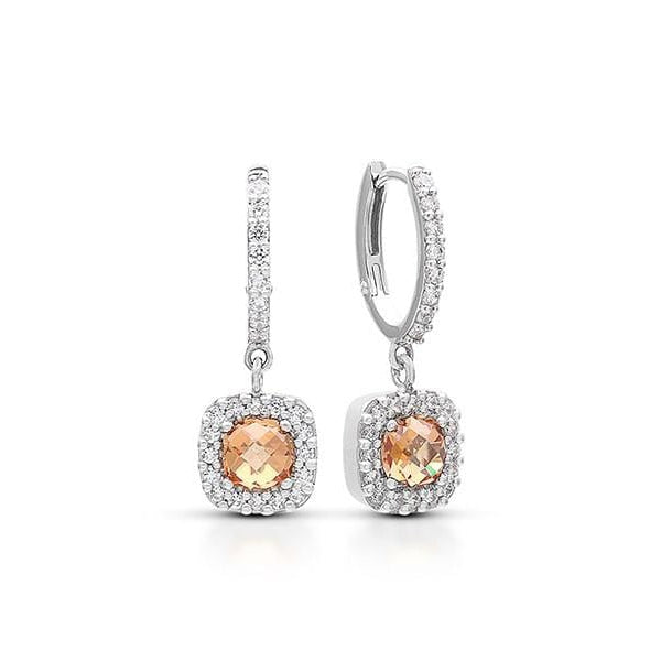 Diana Brown and Champagne Drop Earrings-Belle Etoile-Renee Taylor Gallery