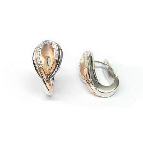 Rose Gold Plated Sterling Silver White Sapphire Earrings - 06/84806-Breuning-Renee Taylor Gallery