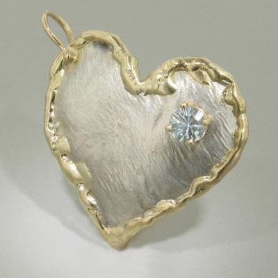 14K Gold & Crystalline Silver Aquamarine Heart Pendant - 11124-Fusion Designs-Renee Taylor Gallery