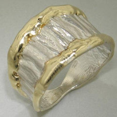 14K Gold & Crystalline Silver Blank Ring - 11316-Fusion Designs-Renee Taylor Gallery