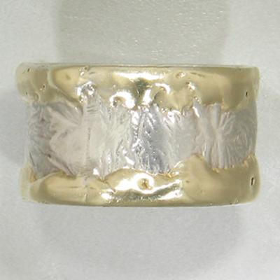 14K Gold & Crystalline Silver Blank Ring - 11601-Fusion Designs-Renee Taylor Gallery