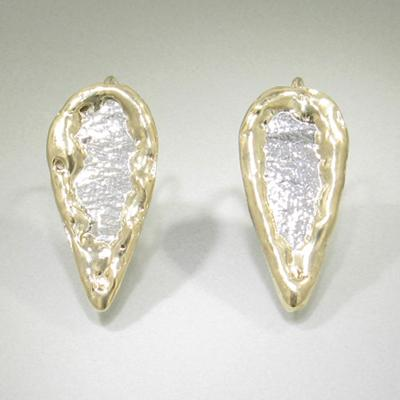 14K Gold & Crystalline Silver Hook Earrings - 11638-Fusion Designs-Renee Taylor Gallery