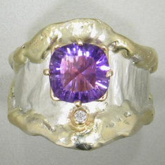 14K Gold & Crystalline Silver Diamond & Amethyst Ring - 11646-Fusion Designs-Renee Taylor Gallery