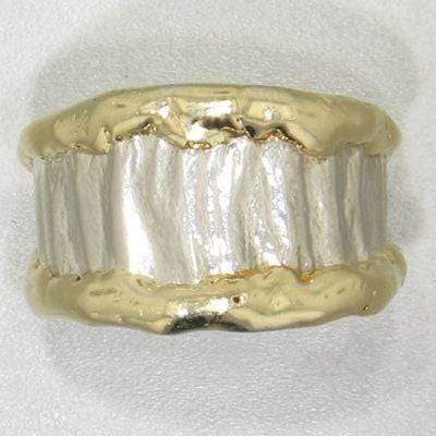 14K Gold & Crystalline Silver Blank Ring - 12159-Fusion Designs-Renee Taylor Gallery