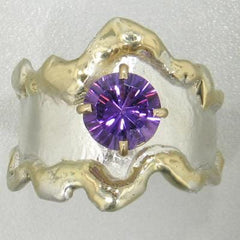 14K Gold & Crystalline Silver Amethyst Ring - 12455-Fusion Designs-Renee Taylor Gallery