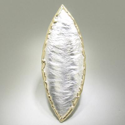 14K Gold & Crystalline Silver Leaf Blank Pendant - 12537-Fusion Designs-Renee Taylor Gallery