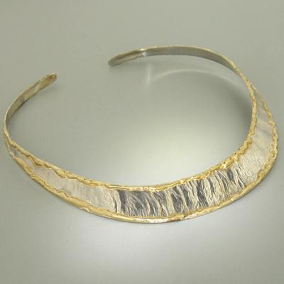 14K Gold & Crystalline Silver Blank Collar - 12996-Fusion Designs-Renee Taylor Gallery