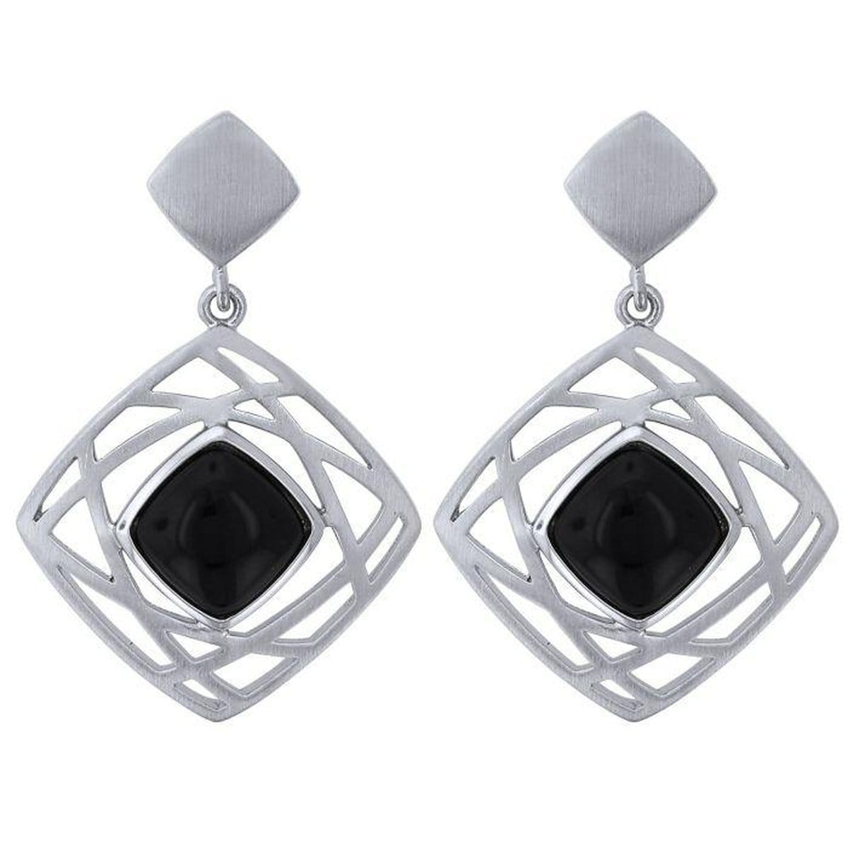 Sterling Silver Onyx Earrings - 12/02003-ON