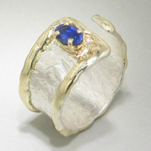 14K Gold & Crystalline Silver Sapphire Ring - 13467-Fusion Designs-Renee Taylor Gallery