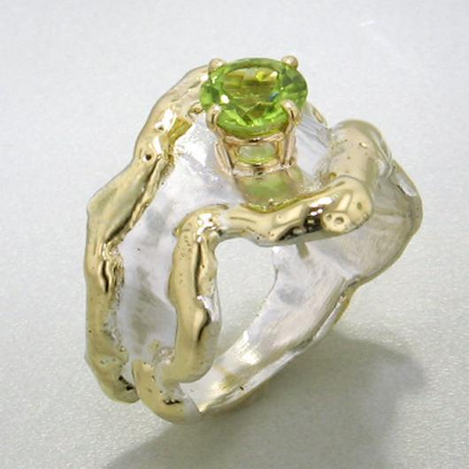 14K Gold & Crystalline Silver Peridot Ring - 13583-Fusion Designs-Renee Taylor Gallery