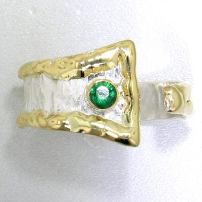 14K Gold & Crystalline Silver Emerald Ring - 13602-Fusion Designs-Renee Taylor Gallery