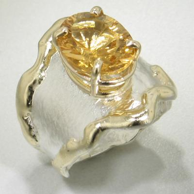 14K Gold & Crystalline Silver Citrine Ring - 13687-Fusion Designs-Renee Taylor Gallery
