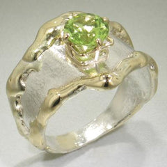 14K Gold & Crystalline Silver Peridot Ring - 14772-Fusion Designs-Renee Taylor Gallery