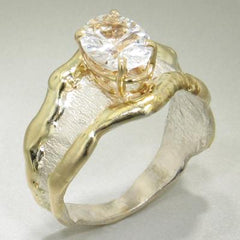 14K Gold & Crystalline Silver White Topaz Ring - 14853-Fusion Designs-Renee Taylor Gallery