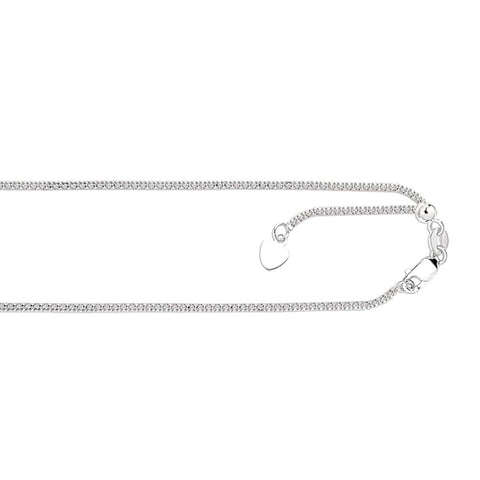"14K 22"" Adjustable 1.33mm Popcorn Chain White Gold-Renee Taylor Gallery-Renee Taylor Gallery"