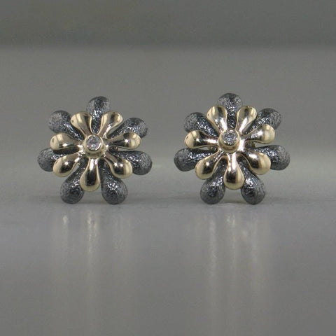 14k Gold, Blackened Silver & Diamond Stud Earrings - 184BGD+Y-YBS-Leon Israel Designs-Renee Taylor Gallery
