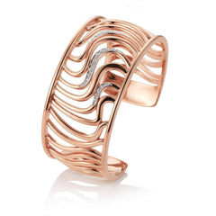Rose Gold Plated Sterling Silver White Sapphire Cuff - 52/00292-Breuning-Renee Taylor Gallery