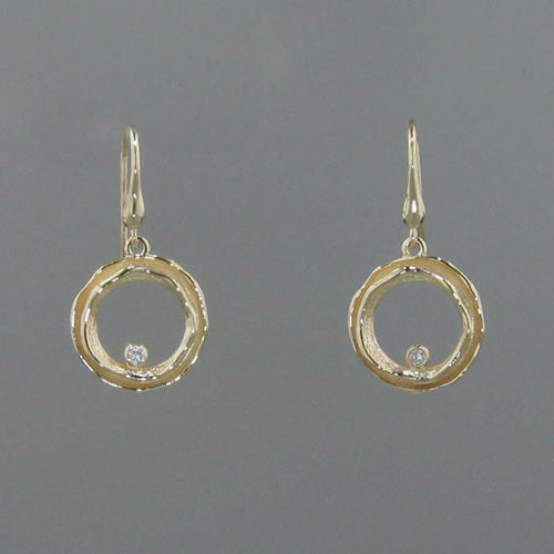 14k Yellow Gold & Diamond Earrings - 445MD+W-Y-Leon Israel Designs-Renee Taylor Gallery