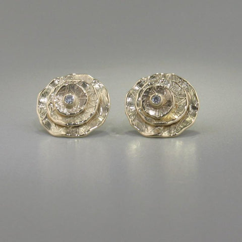 14k Yellow Gold & Diamond Earrings - 638ED+Y-Y-Leon Israel Designs-Renee Taylor Gallery