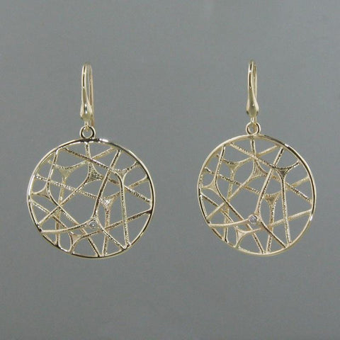 14k Yellow Gold & Diamond Earrings - 697D+W-Y-Leon Israel Designs-Renee Taylor Gallery