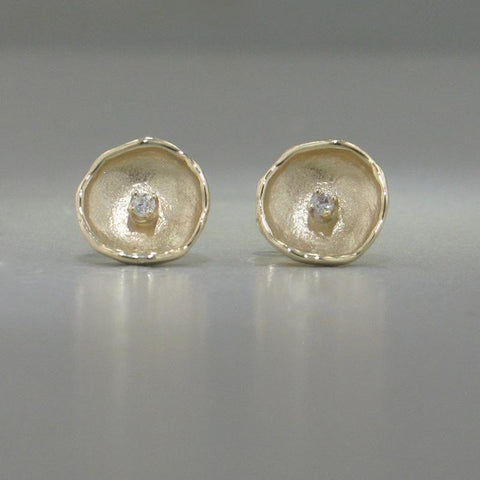 14k Yellow Gold & Diamond Earrings - 809ED+Y-Y-Leon Israel Designs-Renee Taylor Gallery