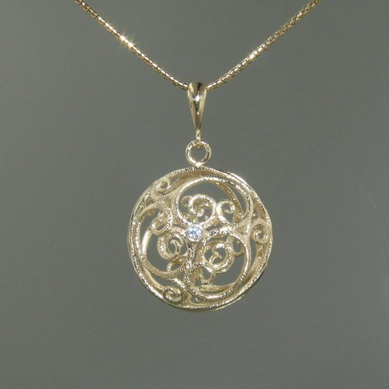 14k Yellow Gold & Diamond Pendant - 349CD-Y-Leon Israel Designs-Renee Taylor Gallery