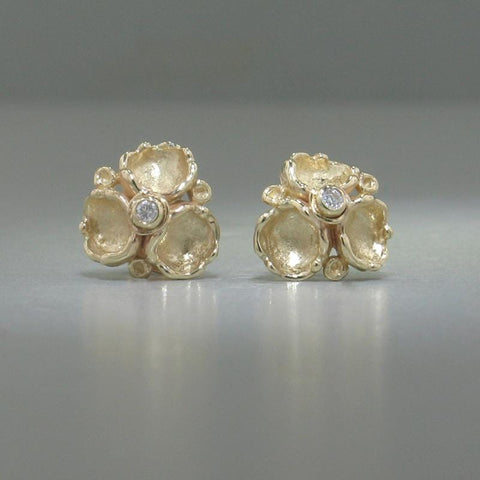 14k Yellow Gold & Diamond Stud Earrings - 185D+Y-Y-Leon Israel Designs-Renee Taylor Gallery