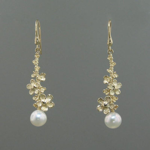 14k Yellow Gold & Pearl Earrings - 152P+W-Y-Leon Israel Designs-Renee Taylor Gallery