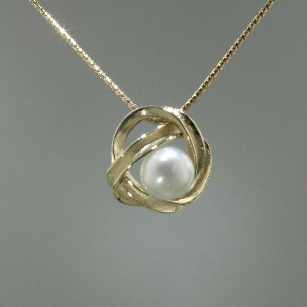 Jackson Pendant Light Yellow: 14k Yellow Gold & Pearl Pendant